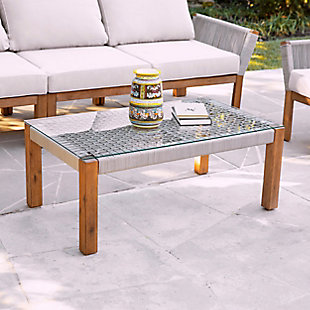 Southern Enterprises Channa Outdoor Glass-Top Cocktail Table, , rollover