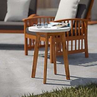 Southern Enterprises Langford Outdoor Terrazzo-Top Round Accent Table, , rollover