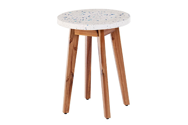 Southern Enterprises Langford Outdoor Terrazzo-Top Round Accent Table, , large