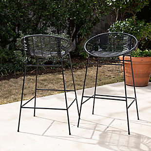 Southern Enterprises Greyma Pair Of Faux Rattan Outdoor Stools, , rollover