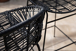 Southern Enterprises Greyma Pair Of Faux Rattan Outdoor Stools, , large