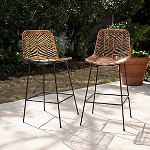 Southern Enterprises Maybrey Faux Rattan Counter Outdoor Stools 2-Piece Set, , rollover