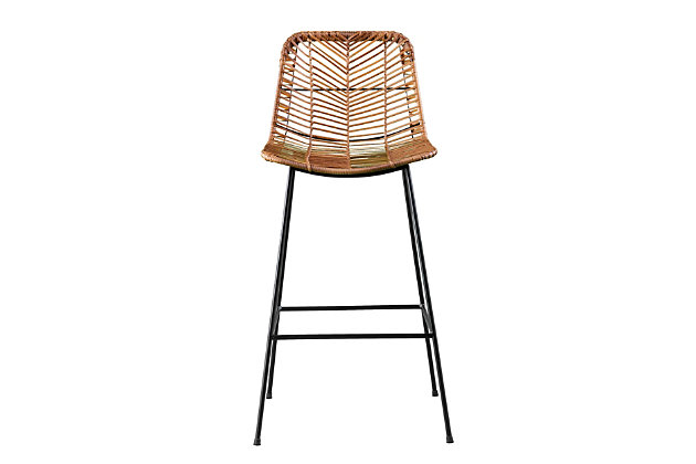 Southern Enterprises Maybrey Faux Rattan Counter Outdoor Stools 2-Piece Set, , large