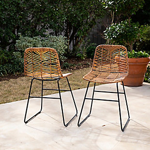 Southern Enterprises Maybrey Pair Of Faux Rattan Outdoor Chairs, , rollover