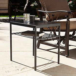 Southern Enterprises Branga Indoor/Outdoor Accent Table, Black, rollover