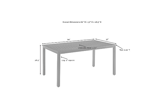 Crosley Kaplan Outdoor Dining Table, , large