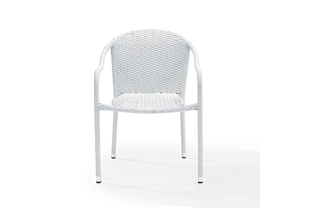 Crosley Palm Harbor Outdoor Wicker Stackable Chair (Set of 4), White, large