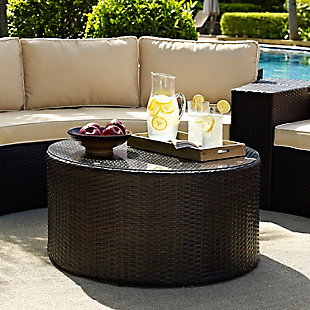 Crosley Catalina Outdoor Wicker Round Coffee Table, , rollover