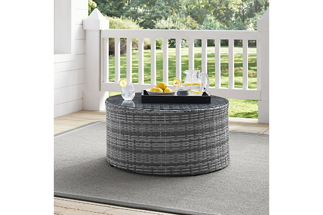 Crosley Catalina Outdoor Wicker Round Coffee Table, , large
