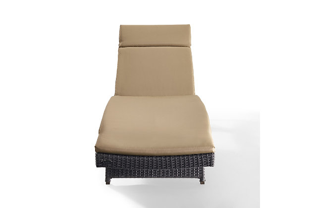 Crosley Biscayne Outdoor Wicker Chaise Lounge, Beige, large