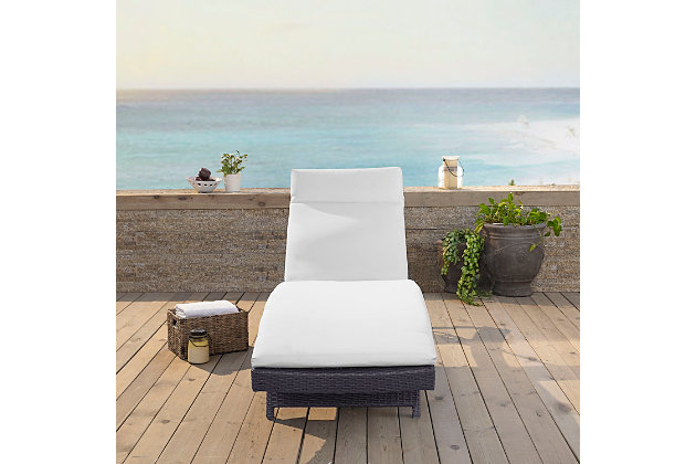 Crosley Biscayne Outdoor Wicker Chaise Lounge, White, large