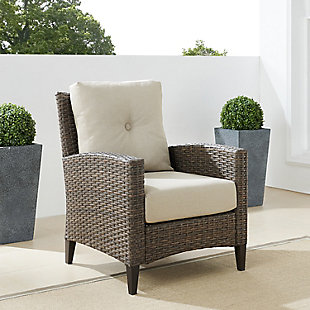Crosley Rockport Outdoor Wicker High Back Arm Chair, , rollover