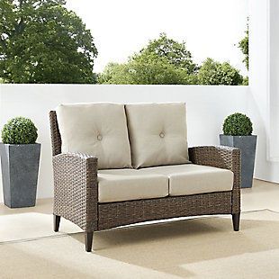 Crosley Rockport Outdoor Wicker High Back Loveseat, , rollover