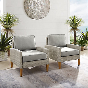 Crosley Capella Outdoor Wicker Chair (Set of 2), , rollover