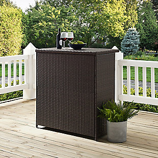 Crosley Palm Harbor Outdoor Wicker Bar, , large