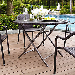 Crosley Palm Harbor Outdoor Wicker Folding Table, , rollover