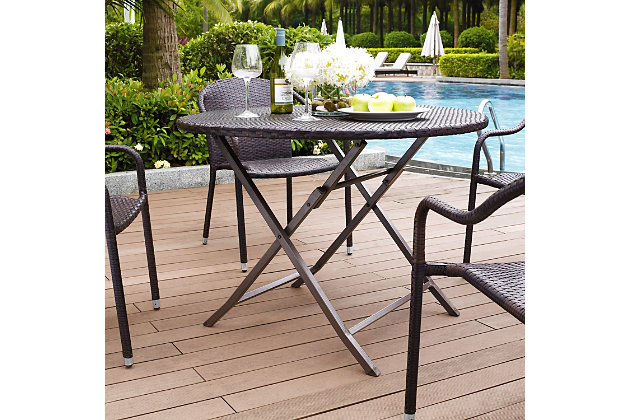 Crosley Palm Harbor Outdoor Wicker Folding Table, , large