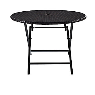 Crosley Palm Harbor Outdoor Wicker Folding Table, , large