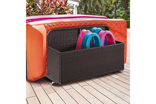 Crosley Palm Harbor Outdoor Wicker Float Caddy, Brown, large