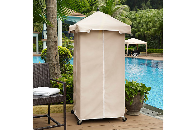 Crosley Palm Harbor Outdoor Wicker Towel Valet, , large