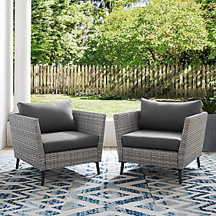 Crosley Richland Outdoor Wicker Arm Chair Set (Set of 2), , rollover