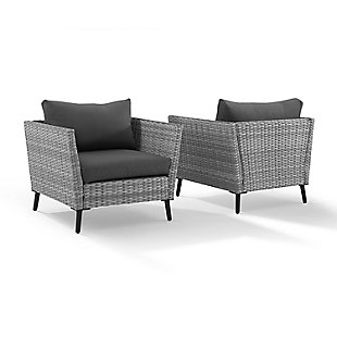 Crosley Richland Outdoor Wicker Arm Chair Set (Set of 2), , large
