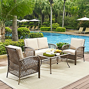 Crosley Tribeca 4-Piece Outdoor Wicker Conversation Set, , rollover