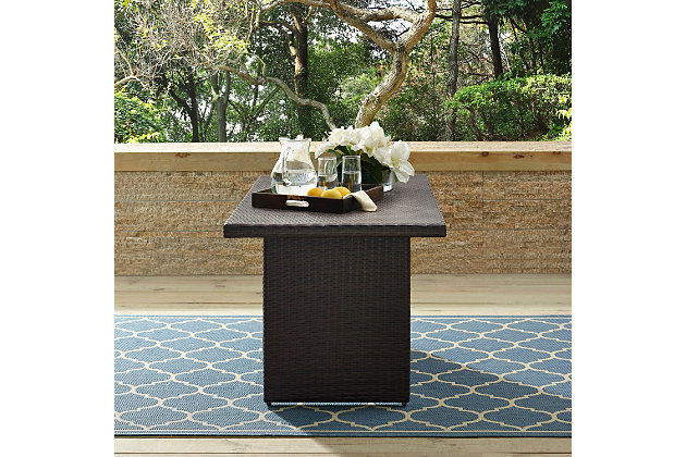 Crosley Palm Harbor Outdoor Wicker Cocktail Table, , large