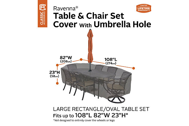 """Classic Accessories Ravenna Water-Resistant 108"""" Rectangular/Oval Patio Table & Chair Set Cover, , large"""