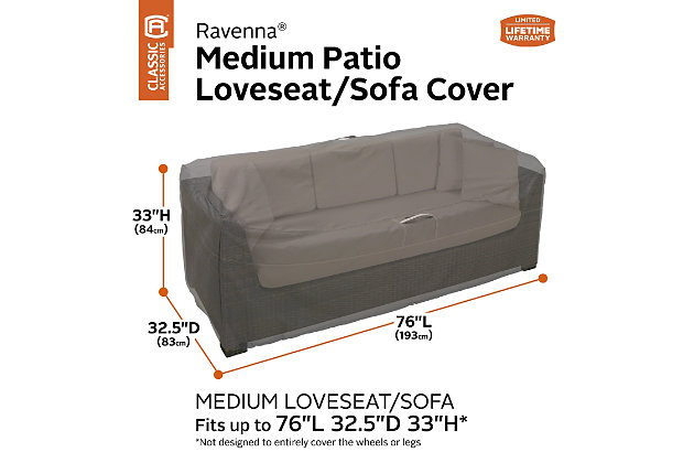 """Classic Accessories Ravenna Water-Resistant 76"""" Patio Sofa/Loveseat Cover, , large"""