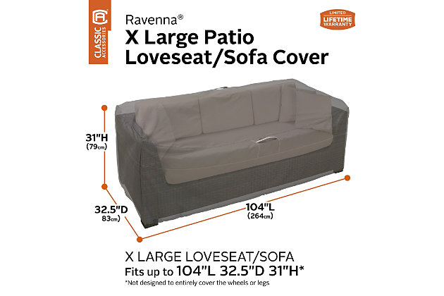 "Classic Accessories Ravenna Water-Resistant 104"" Patio Sofa/Loveseat Cover, , large"