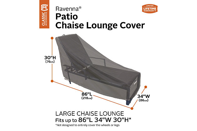 Classic Accessories Ravenna Water-Resistant Patio Chaise Lounge Cover (2-Pack), , large