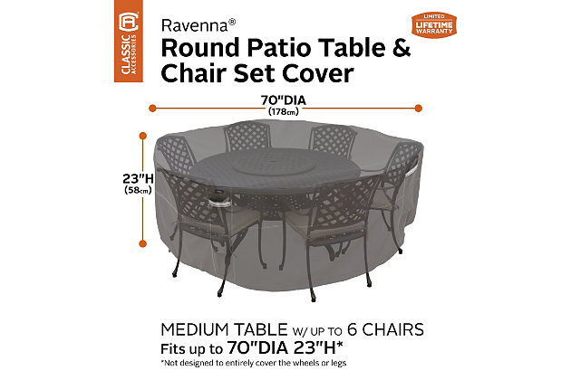 Ravenna Outdoor Water Resistant Round Patio Table And Chair Set Cover Ashley Furniture Homestore