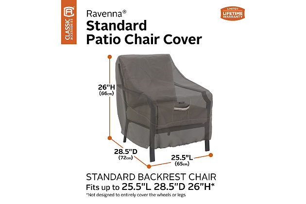 """Classic Accessories Ravenna Water-Resistant 25.5"""" Patio Chair Cover, , large"""