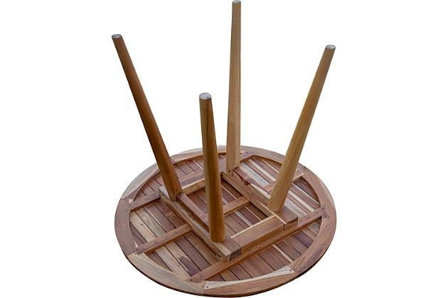 "EcoDecors Oasis Round Teak Mid Century Modern 48"" Indoor/Outdoor Dining Table, , large"