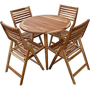 "EcoDecors Oasis Round Teak Mid Century Modern 48"" Indoor/Outdoor Dining Table, , large"