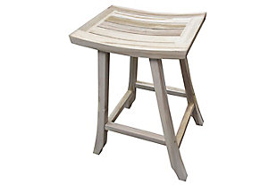 "EcoDecors Coastal Vogue Satori Teak Indoor/Outdoor 30"" Bar Stool, , rollover"