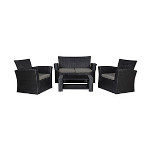 Westin 4-Piece Patio Sofa Set with Cushions, Black/Gray, large
