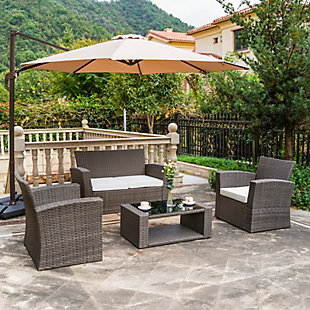 Greywell 4-Piece Outdoor Patio Sofa Set with Cushions, White, rollover
