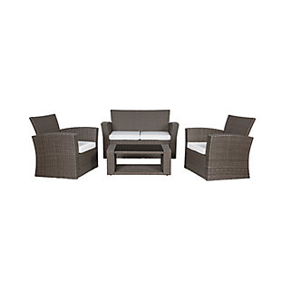 Greywell 4-Piece Outdoor Patio Sofa Set with Cushions, White, large