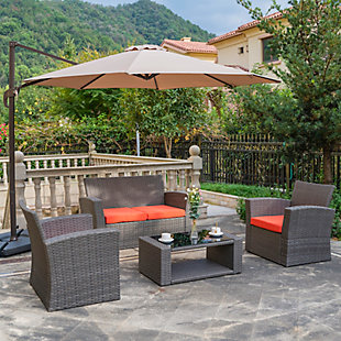 Greywell 4-Piece Outdoor Patio Sofa Set with Cushions, Orange, rollover