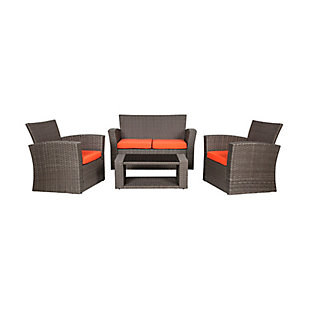 Greywell 4-Piece Outdoor Patio Sofa Set with Cushions, Orange, large