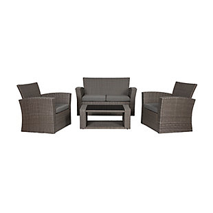 Greywell 4-Piece Outdoor Patio Sofa Set with Cushions, Black/Gray, large