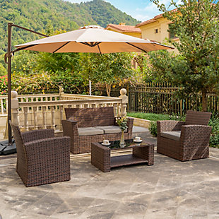 Brownwell 4-Piece Outdoor Patio Sofa Set with Cushions, Gray, rollover