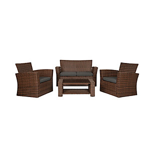 Brownwell 4-Piece Outdoor Patio Sofa Set with Cushions, Gray, large