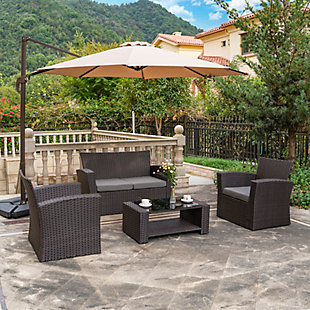 Chocwell 4-Piece Outdoor Patio Sofa Set with Cushions, Gray, rollover