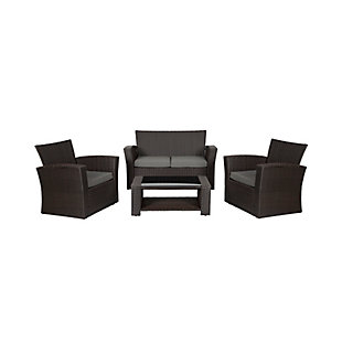 Chocwell 4-Piece Outdoor Patio Sofa Set with Cushions, Gray, large