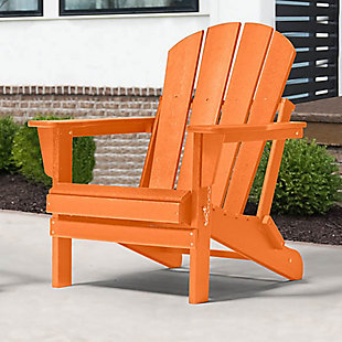 Venice Folding Outdoor Poly Adirondack Chair, Orange, rollover