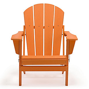 Venice Folding Outdoor Poly Adirondack Chair, Orange, large