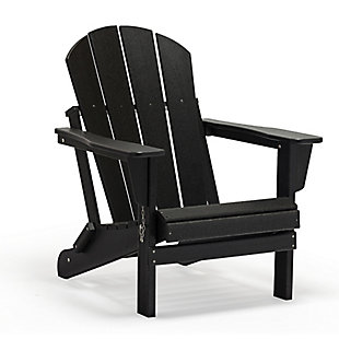 Venice Folding Outdoor Poly Adirondack Chair, Black, large